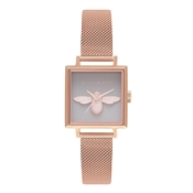 Olivia Burton 3D Bee Grey Square Dial Rose Gold Mesh Watch