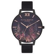 Olivia Burton After Dark Rose Gold & Black Mesh Watch