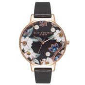 Olivia Burton Bejewelled Florals Black & Rose Gold Watch