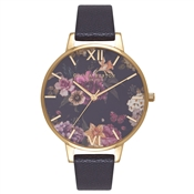 Olivia Burton Dark Bouquet Black & Gold Watch