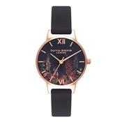 Olivia Burton Dark Bouquet Black & Rose Gold Watch