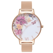 Olivia Burton Enchanted Garden Rose Gold Mesh Watch