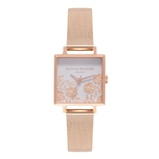 Olivia Burton Lace Detail Square Dial Rose Gold Mesh Watch