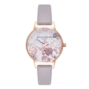 Olivia Burton Marble Floral Grey Lilac & Rose Gold Watch