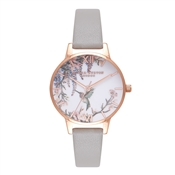Olivia Burton Painterly Prints Grey & Rose Gold Watch