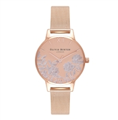 Olivia Burton Lace Detail Sunray Rose Gold Mesh Watch