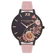 Olivia Burton After Dark Rose Suede & Matte Black Watch