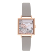 Olivia Burton Signature Florals Grey & Rose Gold Watch