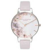 Olivia Burton Watercolour Florals Grey Lilac & Silver Watch