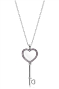 PANDORA Pink Floating Locket Heart Key Necklace