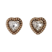 Pilgrim Rose Gold Crystal Heart Earrings