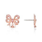 Vivienne Westwood Elinor Small Bow Pink Gold Earrings