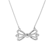 Ted Baker Haven Ornate Pave Bow Silver Necklace