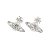 Mini Bas Relief Orb Silver Earrings by Vivienne Westwood