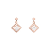 Ted Baker Pasho Pearl Frame Crystal Rose Gold Drop Earrings