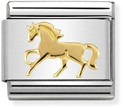 Nomination Gold Galloping Horse Charm