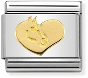 Nomination Gold Heart and Horse Charm