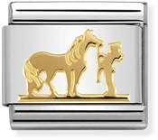 Nomination Gold Horse and Rider Charm