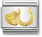 Nomination Gold Horseshoe and Heart Charm