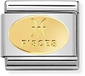 Nomination Gold Pisces Oval Zodiac Charm