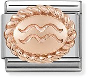 Nomination Rose Gold Aquarius Oval Zodiac Charm