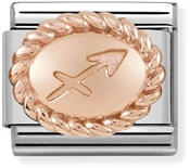 Nomination Rose Gold Sagittarius Oval Zodiac Charm