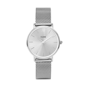 CLUSE Minuit Full Silver Mesh Watch