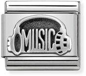 Nomination Oxidised Silver Music Headphones Charm