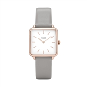 CLUSE La Garçonne Grey Leather Rose gold Detailed Watch