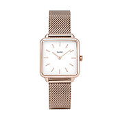 CLUSE La Tetragone Rose gold Mesh White Dial Watch