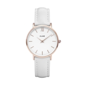 CLUSE Minuit White Leather Rose gold Watch