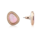 August Woods Rose Gold CZ Pink Opal Stud Earring