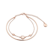 Dirty Ruby Rose Gold Layer CZ Gemini Bracelet