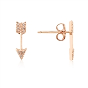 Dirty Ruby Rose Gold CZ Bow Stud Earrings