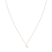 Dirty Ruby Rose Gold CZ Lightening Bolt Necklace