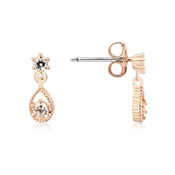 Dirty Ruby Rose Gold CZ Drop Charm Earring