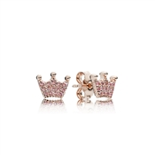 PANDORA Rose Pink Enchanted Crowns Stud Earrings