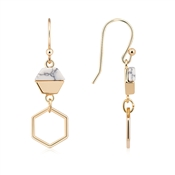 Dirty Ruby Gold Howlite Hexagon Earrings