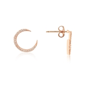 Dirty Ruby Rose Gold CZ Curve Stud Earrings