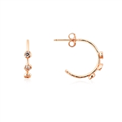 Dirty Ruby Rose Gold CZ Small Hoop Earrings