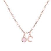 Dirty Ruby Rose Gold Letter C CZ Necklace