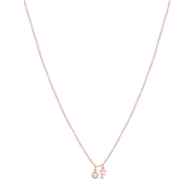 Dirty Ruby Rose Gold Letter F CZ Necklace