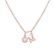 Dirty Ruby Rose Gold Letter M CZ Necklace