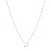 Dirty Ruby Rose Gold Letter R CZ Necklace