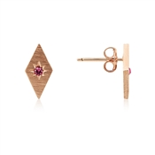 Dirty Ruby Rose Gold Pink CZ Kite Earrings