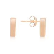 Argento Rose Gold Plain Bar Stud Earrings