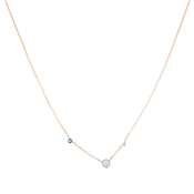 Argento Rose Gold Blue Opal Pebble Necklace