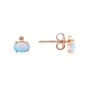 Argento Rose Gold Blue Opal  Round Stud Earrings