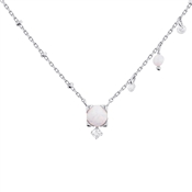 Argento Silver White Opal Necklace