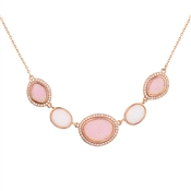 August Woods Rose Gold CZ Pink Opal Necklace